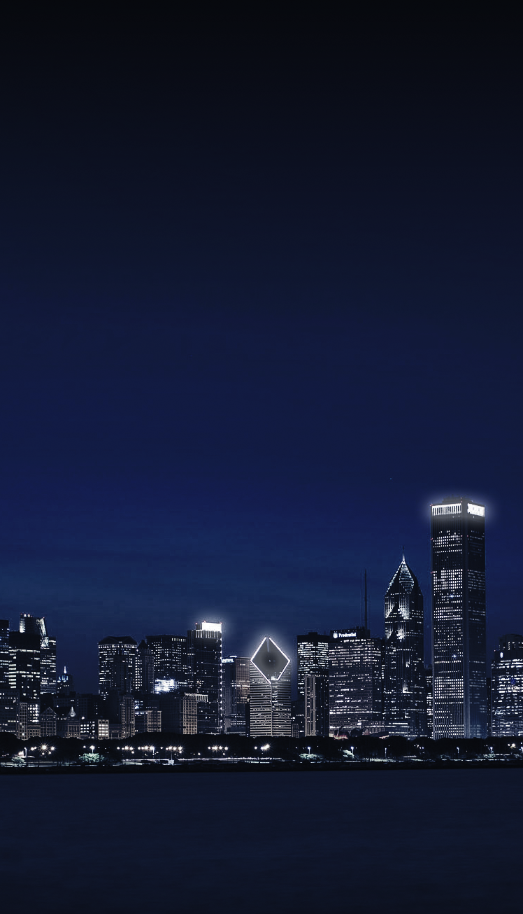 cropped picture for mobile devices or smaller screen sizes of Chicago Illinois city skyline at night with glowing lights